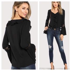 Pleated Cuff Blouse with Ruffle and Lace Inserts